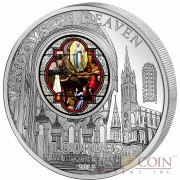 Cook Islands Upper Church of Lourdes $10 Windows of Heaven Silver Coin Colored Window Proof-like ~1.6 oz  2013