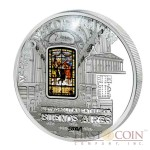 Cook Islands Metropolitan Cathedral Buenos Aires - Cathedral of Pope Francis $10 Windows of Heaven Silver Coin Colored Window Proof-like ~1.6 oz  2014