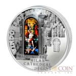 Cook Islands Milan Cathedral $10 Windows of Heaven Silver Coin Colored Window Proof-like ~1.6 oz  2013