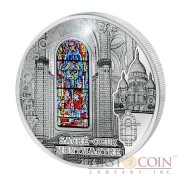 Cook Islands Sacre-Coeur $10 Windows of Heaven Silver Coin Colored Window Proof-like ~1.6 oz  2014
