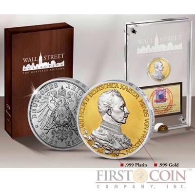 German Empire Wall Street Heritage Series Silver Edition Emperor Wilhelm II 3 Marks Gilded & Platinum application 1890-1913