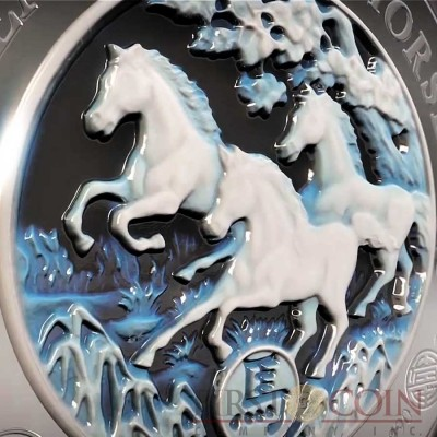 Rwanda Two Layer Agate 3D Year of the Horse Lunar Chinese Calendar 1000 Francs Silver Coin 3 oz 2014