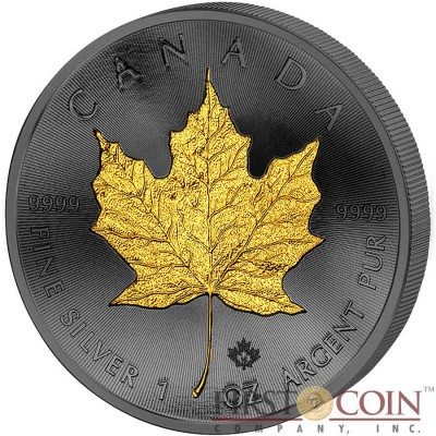 Canada Maple Leaf Canadian GOLDEN ENIGMA EDITION $5 Silver coin Black Ruthenium & Gold Plated 1oz 2015