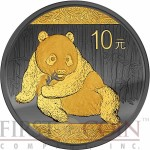 China Chinese Panda Silver Coin ¥10 Yuan GOLDEN ENIGMA EDITION series Black Ruthenium & Gold Plated Silver coin 1 oz 2015