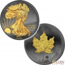 USA & Canada: two coin set $1 AMERICAN SILVER EAGLE WALKING LIBERTY + $5 CANADIAN SILVER MAPLE LEAF GOLDEN ENIGMA EDITION 2015 Black Ruthenium & Gold Plated 2oz