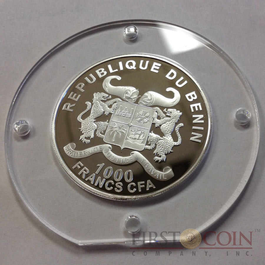 Benin YEAR OF THE GOAT 1000 Francs Silver coin Innovative Haptic Printing technology 2015 Partly Proof and Frosted 1 oz