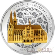 Cook Islands Chartres Cathedral 3D Sculpture $10 World Monuments Series Silver Coin 2014 Proof Gilded 1 oz