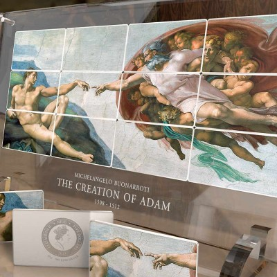 Niue Island CREATION of ADAM SISTINE CHAPEL by MICHELANGELO series GIANTS OF ART 12 Silver Coin Set $60 Special minting 2013 Colored 960 grams / 31 oz