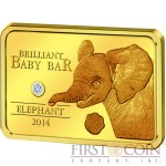 Niue Island Elephant Brilliant Baby Bar $5 Gold coin White Diamond 2014