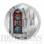 Cook Islands Chartres Notre Dame Cathedral $10 Windows of Heaven Silver Coin Colored Window Proof-like ~1.6 oz  2013