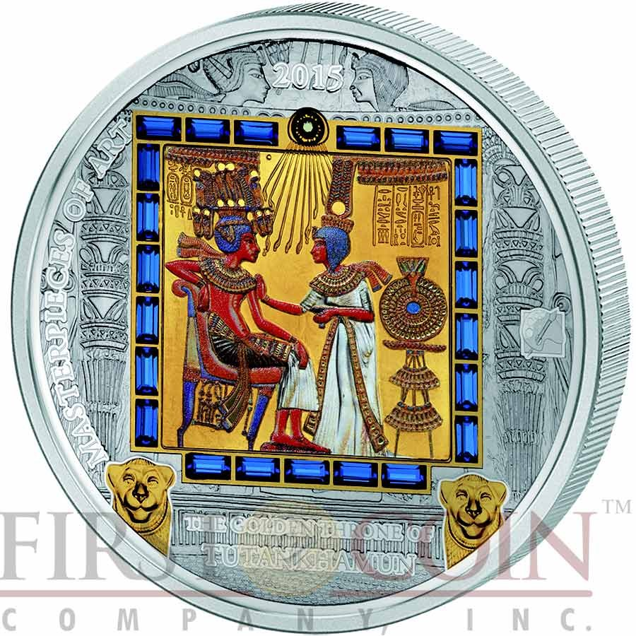 Cook Islands THE GOLDEN THRONE of TUTANKHAMEN Two Coin Set Premium Edition of Masterpieces of Art Series $20 Silver 3 oz & $25 Gold 1/4 oz 26 Swarovski Crystals Gold Plated Proof & Rhodium Finishing 2015