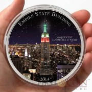 Cameroon USA THE EMPIRE STATE BUILDING 1.500 Francs Landmarks at Night Series 2015 Silver coin Colored 2 oz