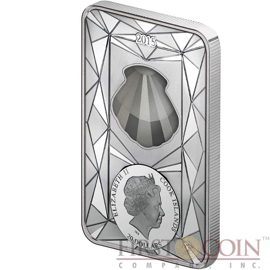 Cook Islands BLUE SHELL $20 Silver Luxury Line series Edition 4 Silver coin Swarovski crystal 100 g (3.22 oz) Proof 2015