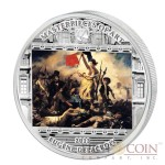 Cook Islands Delacroix Eugene Liberty Leading the People $20 Masterpieces of Art Silver Coin Swarovski Crystals Proof 3 oz  2013