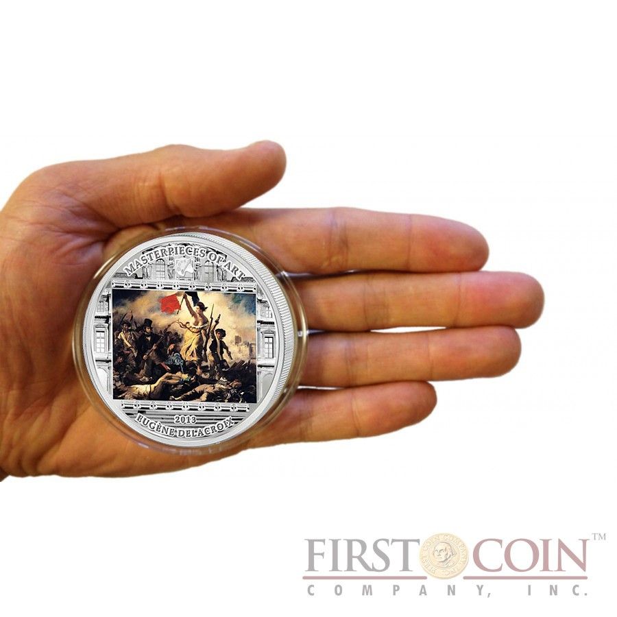 Cook Islands Delacroix Eugene Liberty Leading the People $20 Masterpieces of Art Silver Coin Swarovski Crystals 2013 Proof 3 oz