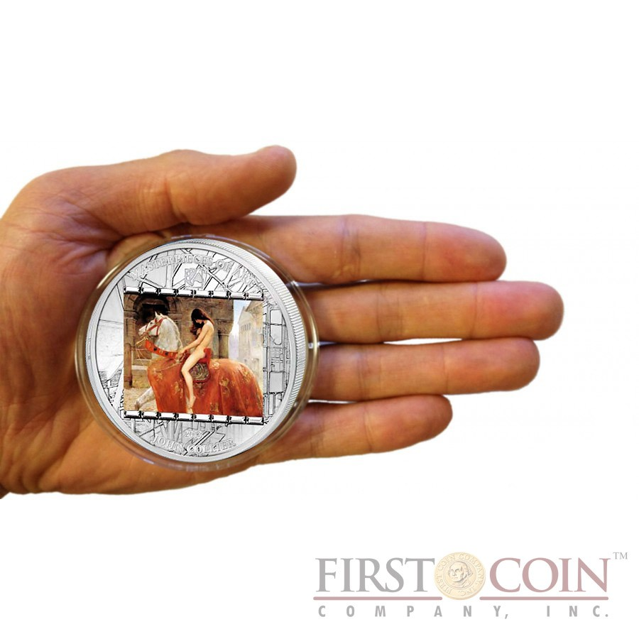 Cook Islands John Collier Lady Godiva $20 Masterpieces of Art Silver Coin Swarovski Crystals Proof 3 oz  2013