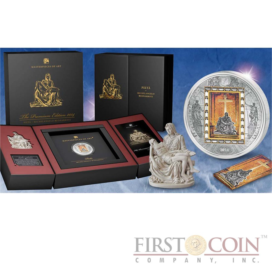 Cook Islands Michelangelo Pieta $20 Premium Edition of Masterpieces of Art Series 3oz Silver Coin & 1/4oz Gold bar Swarovski Crystals Gold Plated Proof 2014