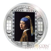 Cook Islands Vermeer Girl with a Pearl Earring $20 Masterpieces of Art Silver Coin Swarovski Crystals Proof 3 oz  2014