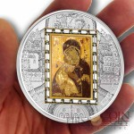 Cook Islands Virgin of Vladimir by Luke the Evangelist $20 Premium Edition of Masterpieces of Art Series 3oz Silver Coin & 1/4oz Gold bar Swarovski Crystals Gold Plated Proof 2013