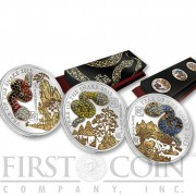 Rwanda Lunar Year of the Snake Pave 3D Silver Three Coin Set 1500 Francs Gemstones Gilded Proof 2013