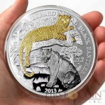 Rwanda Leopard & Black Panther series Wildlife with Diamonds Silver Coin 1000 Francs Gold & Ruthenium plated Proof 3 oz 2013