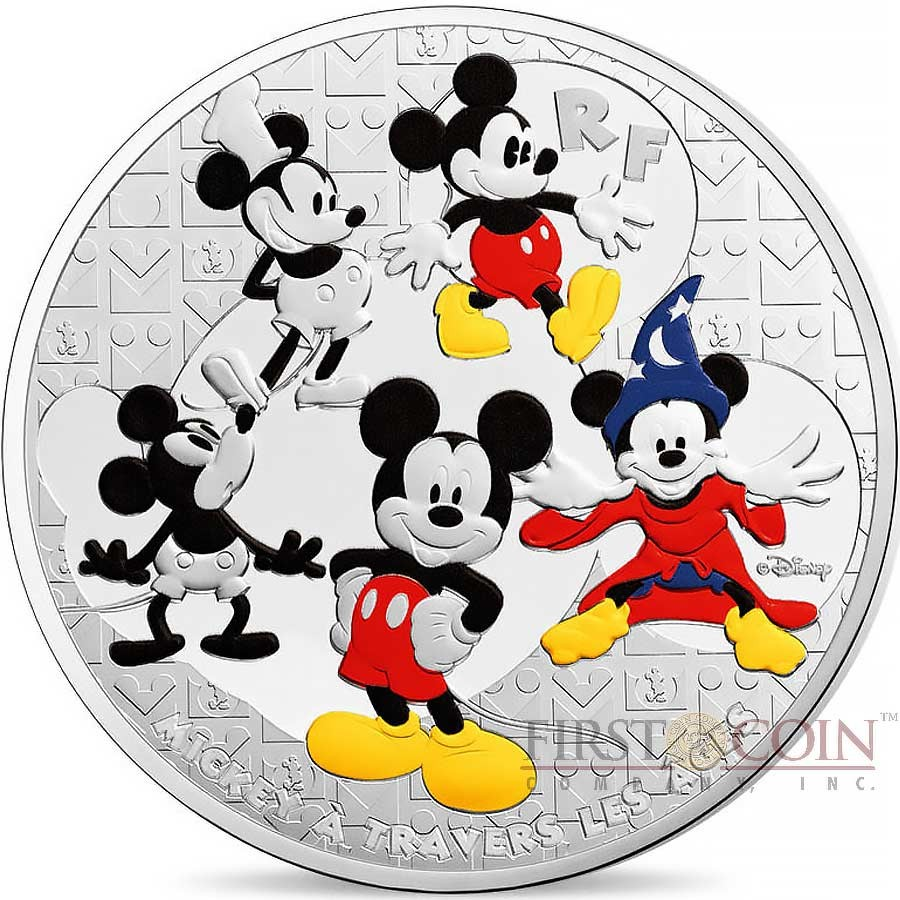 France Disney Mickey Mouse Through The Ages 50 Euro Silver Coin