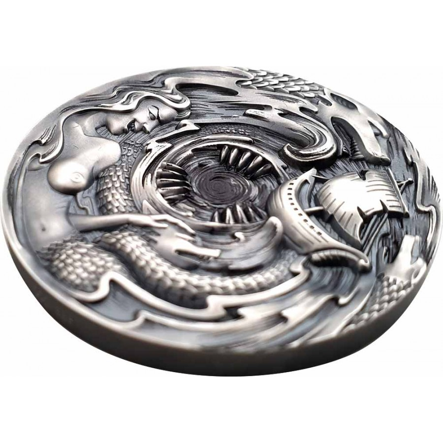 Republic of Palau SCYLLA and CHARYBDIS series EVIL WITHIN Silver coin $20 Antique finish 2020 Ultra high relief 3 oz