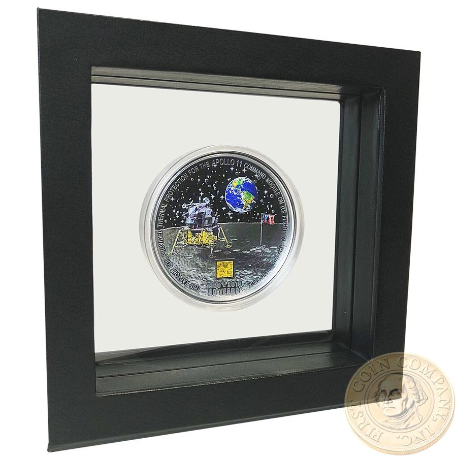 Cook Islands 50th ANNIVERSARY APOLLO-11 FIRST WALK ON THE MOON $20 Silver Coin Black Proof 2019 Real Apollo piece inlay 3 oz