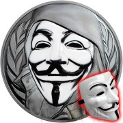Cook Islands 1st ANONYMOUS 3D GUY FAWKES MASK $5 Silver Coin High Relief Smartminting Technology Special Black Proof Finish 2016 Porcelain effect 1 oz