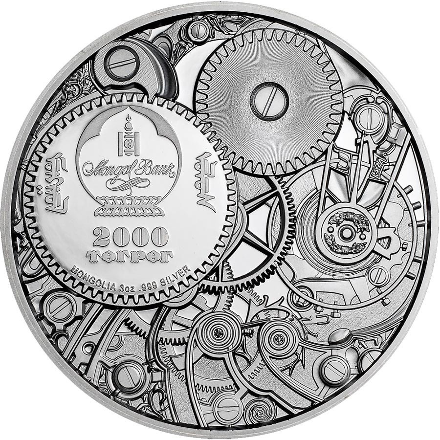 Mongolia MECHANICAL BEE series CLOCKWORK EVOLUTION 2000 Togrog Silver Coin 2020 Black Proof Ultra High Relief Smartminting 3 oz