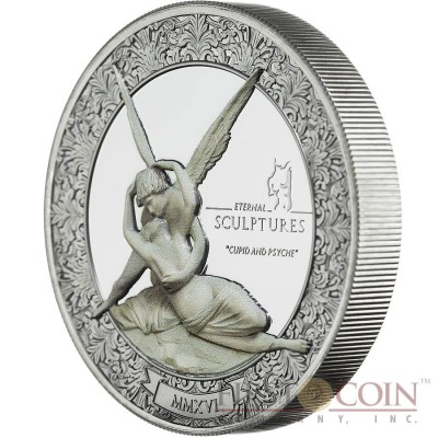 Palau CUPID AND PSYCHE Antonio Canova series ETERNAL SCULPTURES $10 Silver Coin High Relief Smartminting Technology Special Black Proof Finish 2016 Marble effect 2 oz