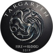 USA GAME OF THRONES I - HOUSE of TARGARYEN FIRE COMING GOT American Silver Eagle 2019 Walking Liberty $1 Silver coin 1 oz