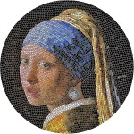 Palau GIRL WITH A PEARL EARRING by VERMEER series GREAT MICROMOSAIC PASSION $20 Silver Coin 2019 Proof 3 oz