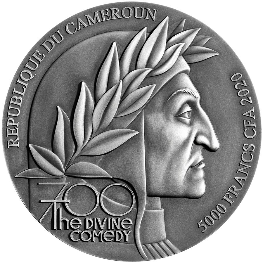 Republic of Cameroon DANTE - THE DIVINE COMEDY - INFERNO 700 Years Silver coin 5000 Francs Antique finish 2020 High relief 5 oz
