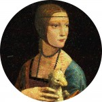 Palau LADY WITH AN ERMINE - LEONARDO DA VINCI series GREAT MICROMOSAIC PASSION $20 Silver Coin 2020 Mosaic Technology Proof 3 oz
