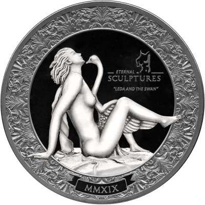 Palau LEDA AND THE SWAN series ETERNAL SCULPTURES $10 Silver Coin High Relief Smartminting Technology Marble effect 2019 Black Proof 2 oz