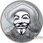 Cook Islands 2nd ANONYMOUS 3D GUY FAWKES MASK HISTORIC Silver Coin $5 High Relief Smartminting Technology Special Black Proof Finish 2017 Porcelain effect 1 oz