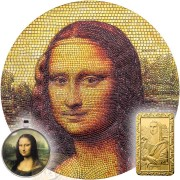 Palau MONA LISA LA GIOCONDA by Leonardo Da Vinci Italy series GREAT MICROMOSAIC PASSION $20 Silver Coin 2018 Innovative Mosaic Technology Proof 3 oz