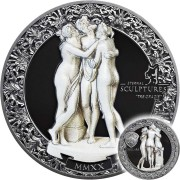 Palau TRE GRAZIE - THREE GRACES by ANTONIO CANOVA series ETERNAL SCULPTURES $10 Silver Coin High Relief Smartminting Technology Marble effect 2020 Black Proof 2 oz