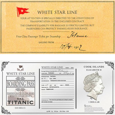 Cook Islands TITANIC - TICKET ROSE DEWITT BUKATER $1 Silver Coin-Note 2019