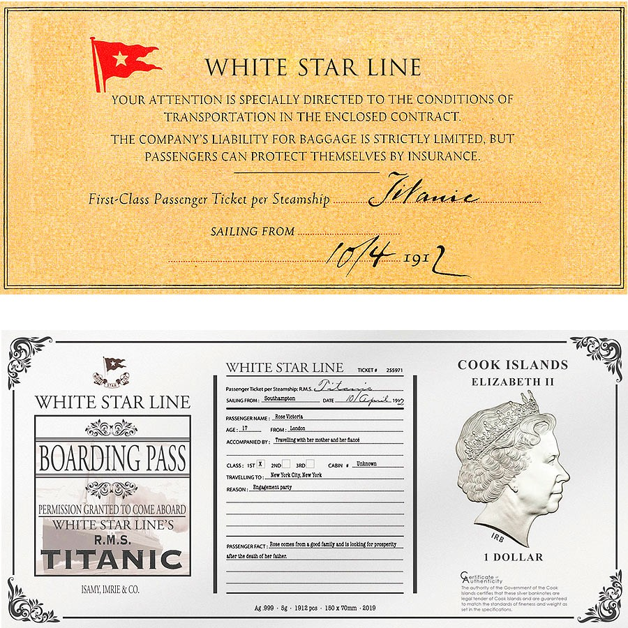 Cook Islands 2019 5 Gram Pure Silver Coin Bank Note TITANIC ROSE/'S TICKET