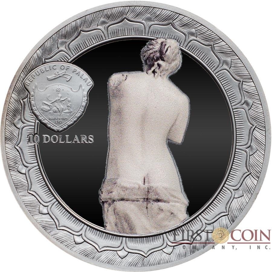 Palau VENUS DE MILO - APHRODITE series ETERNAL SCULPTURES $10 Silver Coin High Relief Smartminting Technology Special Black Proof Finish 2017 Marble effect 2 oz