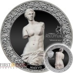 Palau VENUS DE MILO - APHRODITE series ETERNAL SCULPTURES $10 Silver Coin High Relief Smartminting Technology Special Black Proof Finish 2017 Marble effect 2 oz