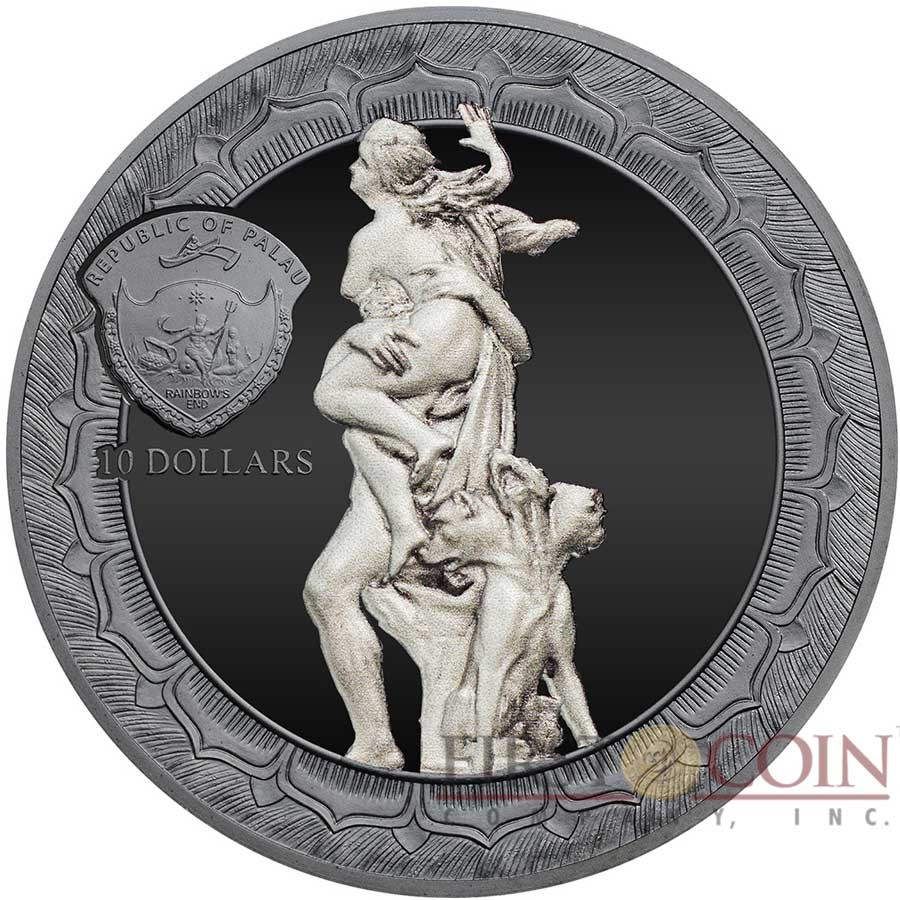 Palau THE RAPE OF PROSERPINA by BERNINI 1622 series ETERNAL SCULPTURES $10 Silver Coin High Relief Smartminting Technology Special Black Proof Finish 2018 Marble effect 2 oz