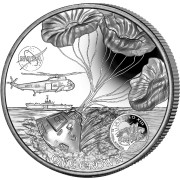 Ascension Island APOLLO-13 NASA Official Coin 50th ANNIVERSARY FIRST WALK ON THE MOON 1 Crown Silver coin 2020 Ultra High Relief Concave shaped Proof 2 oz