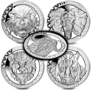 Republic of Sierra Leone 5 COIN SET series BIG FIVE $100 High Relief 2019 Proof 10 oz