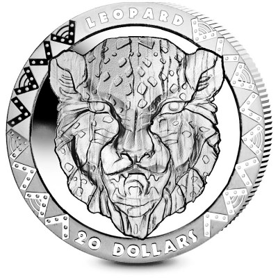 Republic of Sierra Leone LEOPARD series BIG FIVE Silver Coin $20 High Relief 2019 Proof 2 oz