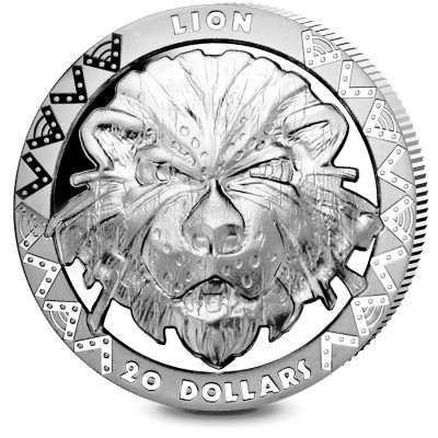 Republic of Sierra Leone LION series BIG FIVE Silver Coin $20 High Relief 2019 Proof 2 oz