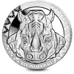 Republic of Sierra Leone RHINO series BIG FIVE Silver Coin $20 High Relief 2019 Proof 2 oz
