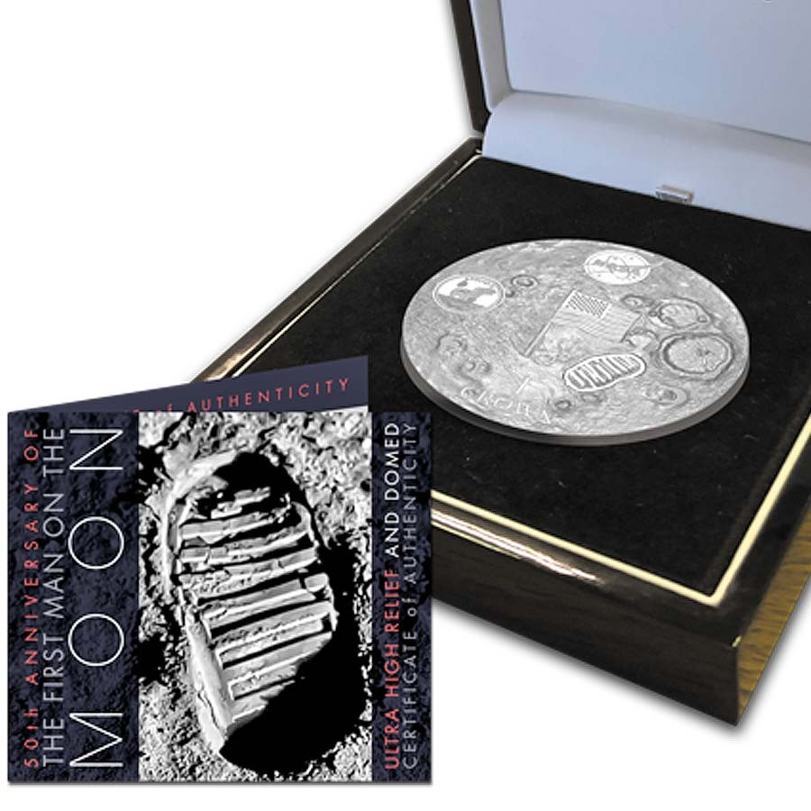 Ascension Island NASA Official Coin 50th ANNIVERSARY APOLLO-11 FIRST WALK ON THE MOON 1 Crown Silver coin 2019 Ultra High Relief Dome shaped Proof 2 oz